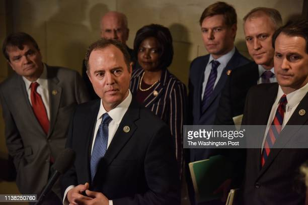 Adam Schiff chair of the House Intelligence Committee addresses the media following the closed door testimony of Michael Cohen longtime lawyer for...