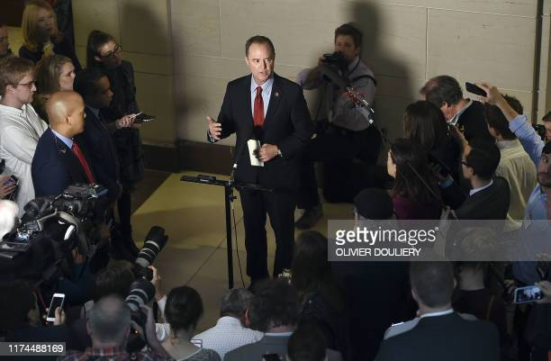 Adam Schiff Chairman of the House Select Committee on Intelligence Committee speaks to the media before a closeddoor meeting regarding the ongoing...