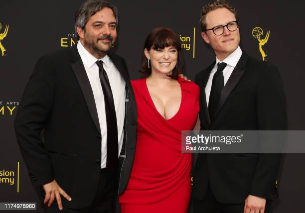 Adam Schlesinger Rachel Bloom and Jack Dolgen attend the 2019 Creative Arts Emmy Awards on September 15 2019 in Los Angeles California