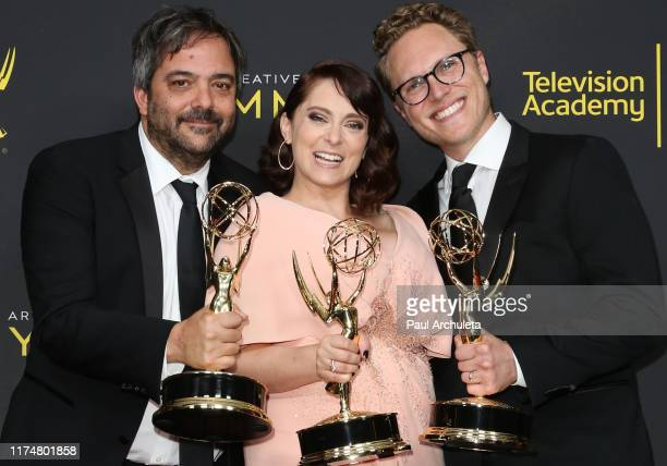 Adam Schlesinger Rachel Bloom and Jack Dolgen pose for photos in the press room for the 2019 Creative Arts Emmy Awards on September 14 2019 in Los...