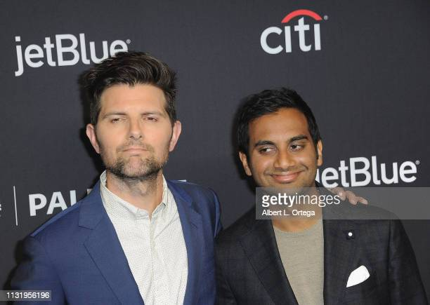 Adam Scott and Aziz Ansari attend The Paley Center For Media's 2019 PaleyFest LA Parks And Recreation 10th Anniversary Reunion held at Dolby Theatre...