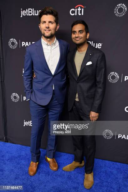 Adam Scott and Aziz Ansari attend The Paley Center For Media's 2019 PaleyFest LA 'Parks And Recreation' 10th Anniversary Reunion at Dolby Theatre on...