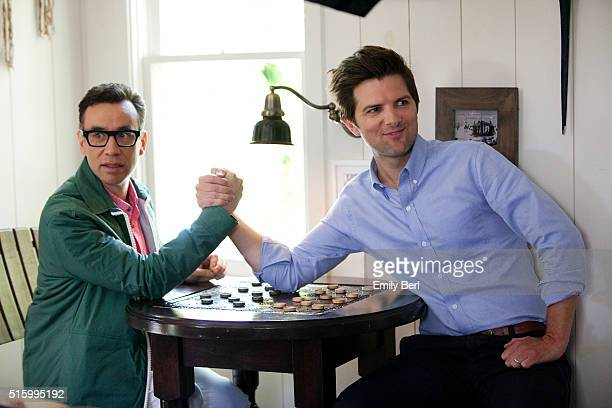 Adam Scott and Fred Armisen are photographed behind the scenes of the The Hollywood Reporter Comedy Actor Emmy Roundtable at the Bungalow at the...