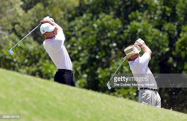 Adam Scott and Greg Norman on the practice range together on 30 November 2004 in preparation for the Cadbury Schweppes Coolum PGA Golf Championship...