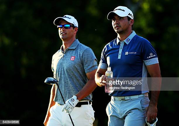 Adam Scott and Jason Day of Australia walk on the fourth hole during the second round of the US Open at Oakmont Country Club on June 17 2016 in...