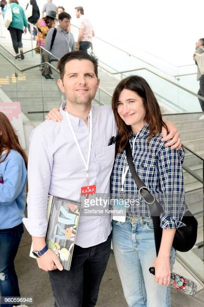 Adam Scott and Kathryn Hahn attend Hammer Museum KAMP 2018 at Hammer Museum on May 20 2018 in Los Angeles California