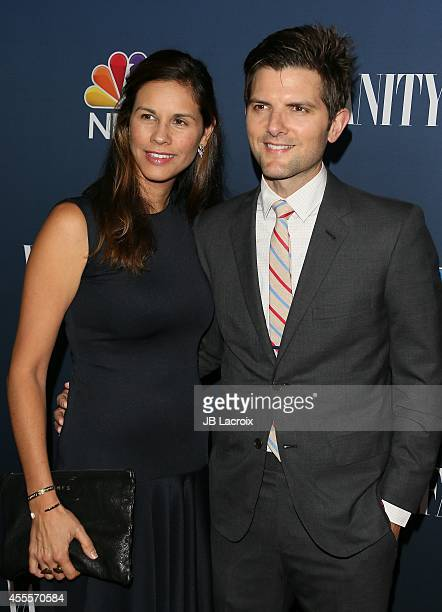 Adam Scott and Marie Kojzar attend the NBC And Vanity Fair 20142015 TV Season Red Carpet Media Event on September 15 in West Hollywood California