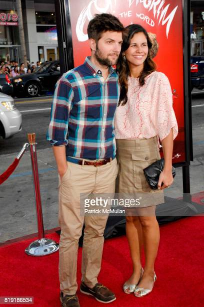 Adam Scott and Naomi Sablan attend Scott Pilgrim Vs The World Los Angeles Premiere at Grauman's Chinese Theatre on July 27 2010 in Hollywood CA