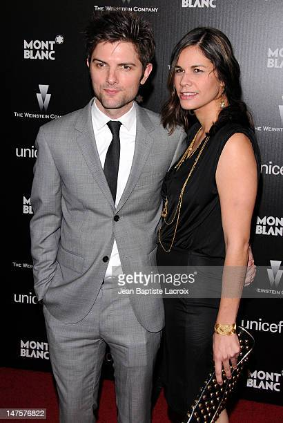 Adam Scott and Naomi Sablan attend the Montblanc Charity Cocktail hosted by the Weinstein Company to benefit UNICEF at Soho House on March 6 2010 in...