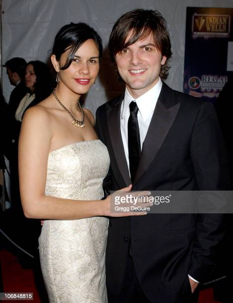 Adam Scott and Naomi Sablan during Palm Springs International Film Festival Awards Gala presented by Tiffany Co Arrivals at Palm Springs Convention...