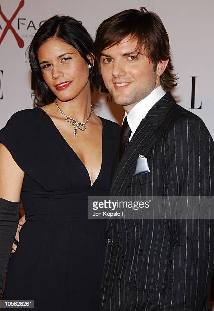 Adam Scott and Naomi Sablan during The Aviator Los Angeles Premiere Arrivals at Grauman's Chinese Theatre in Hollywood California United States