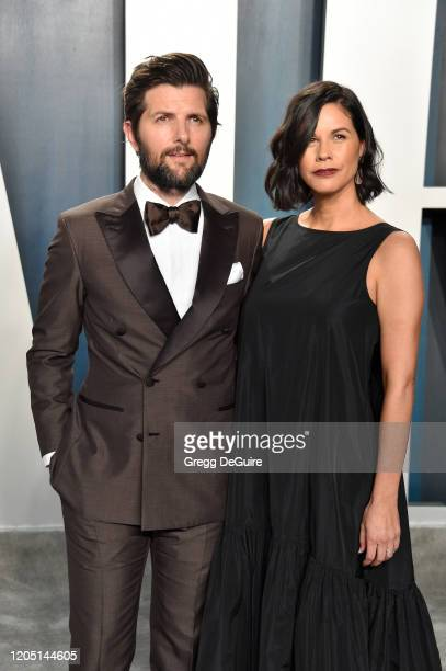 Adam Scott and Naomi Scott and attends the 2020 Vanity Fair Oscar Party hosted by Radhika Jones at Wallis Annenberg Center for the Performing Arts on...