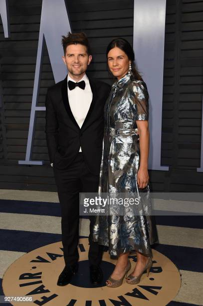 Adam Scott and Naomi Scott attend the 2018 Vanity Fair Oscar Party hosted by Radhika Jones at the Wallis Annenberg Center for the Performing Arts on...