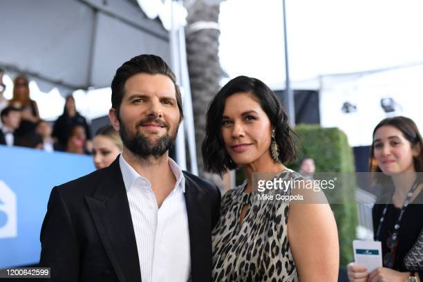 Adam Scott and Naomi Scott attend the 26th Annual Screen Actors Guild Awards at The Shrine Auditorium on January 19, 2020 in Los Angeles, California....
