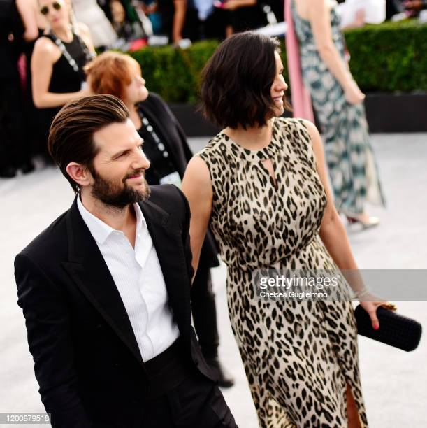 Adam Scott and Naomi Scott attend the 26th annual Screen Actors Guild Awards at The Shrine Auditorium on January 19, 2020 in Los Angeles, California.
