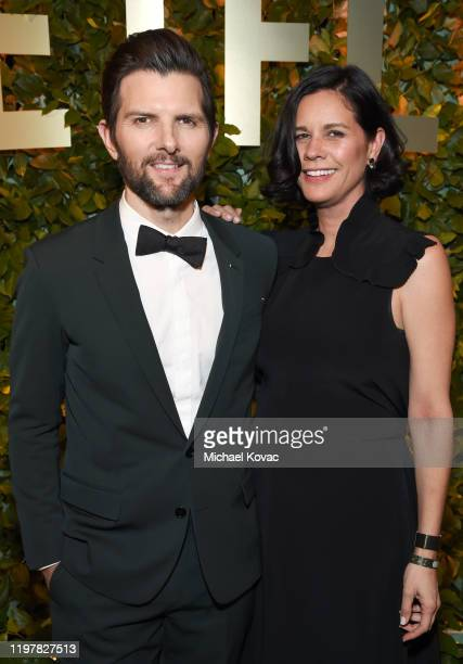 Adam Scott and Naomi Scott attend the Netflix 2020 Golden Globes After Party on January 05, 2020 in Los Angeles, California.