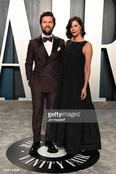 Adam Scott and Naomi Scott attends the 2020 Vanity Fair Oscar Party hosted by Radhika Jones at Wallis Annenberg Center for the Performing Arts on...