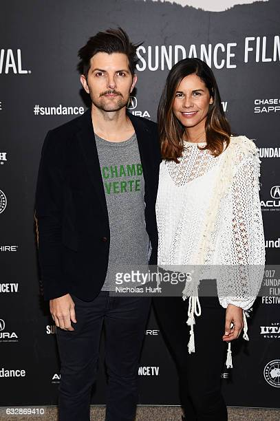 Adam Scott and producer Naomi Scott attend 'Fun Mom Dinner' Premiere during the 2017 Sundance Film Festival at Eccles Center Theatre on January 27...