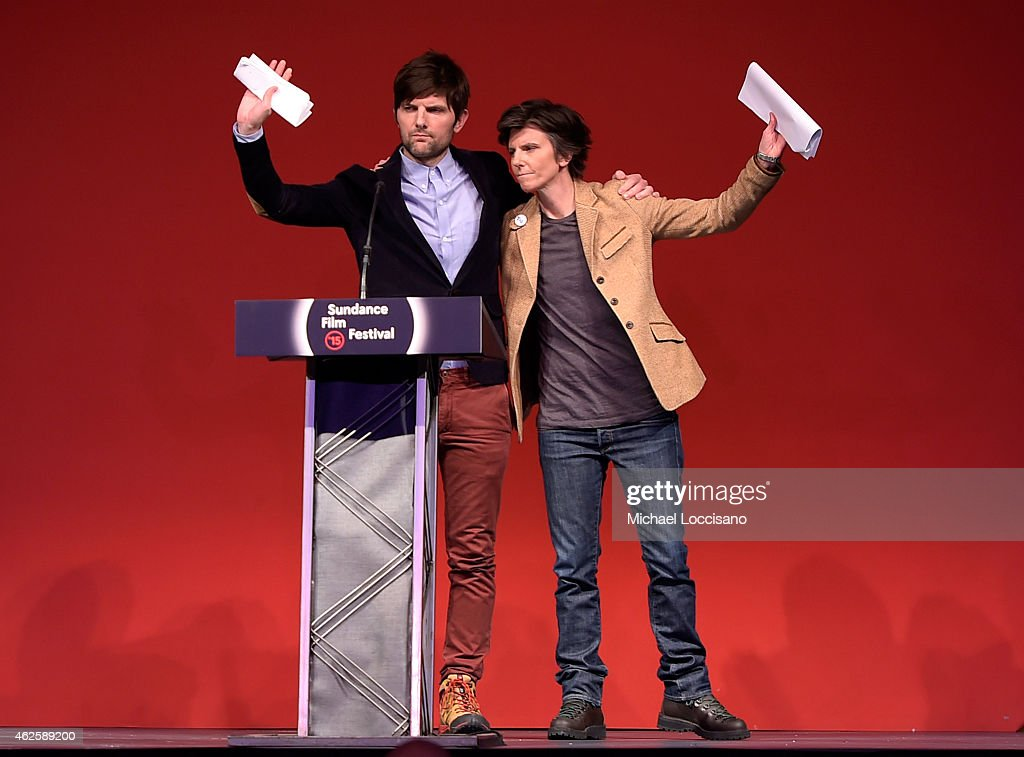 Adam Scott (L) and Tig Notaro speak onstage at the Awards Night Ceremony during the 2015 Sundance Film Festival at the Basin Recreation Field House on January 31, 2015 in Park City, Utah.