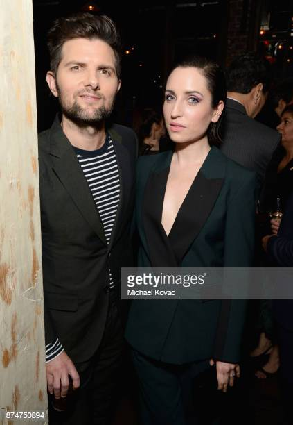 Adam Scott and Zoe ListerJones at Moet Celebrates The 75th Anniversary of The Golden Globes Award Season at Catch LA on November 15 2017 in West...