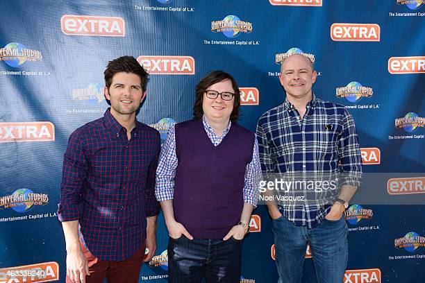 Adam Scott Clark Duke and Rob Corddry visit Extra at Universal Studios Hollywood on February 12 2015 in Universal City California