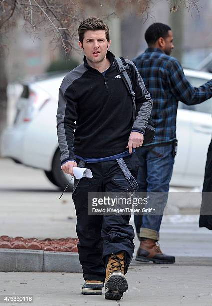 Adam Scott is seen on the movie set of 'Friends with Kids' on February 17 2011 in New York City