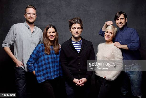 Adam Scott Jason Schwartzman Patrick Brice Judith Godreche and Naomi Scott from 'The Overnight' pose for a portrait for the Los Angeles Times at the...