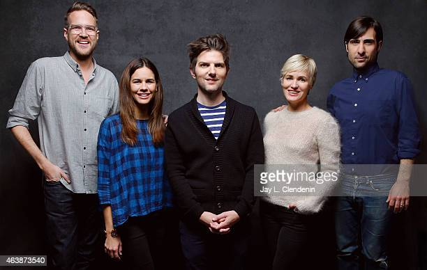 Adam Scott Jason Schwatzman Patrick Brice Jutidh Godreche and Naomi Scott from' The Overnight' pose for a portrait for the Los Angeles Times at the...