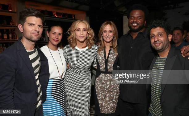 Adam Scott Naomi Scott Ally Walker Fox Television Group Chairman and CEO Dana Walden Craig Robinson and Adeel Akhtar attends the FOX Fall Party at...
