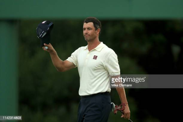 Adam Scott of Australia acknowledges patrons on the 18th green during the second round of the Masters at Augusta National Golf Club on April 12 2019...