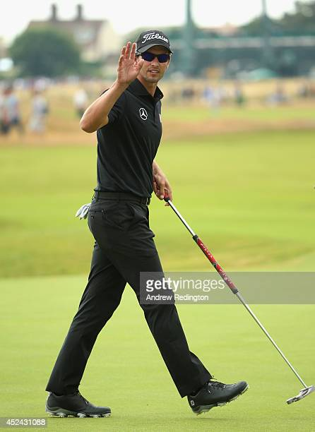 Adam Scott of Australia acknowledges the crowd during the final round of The 143rd Open Championship at Royal Liverpool on July 20 2014 in Hoylake...