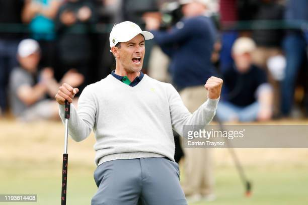 Adam Scott of Australia and the International team reacts on the 17th green during Saturday fourball matches on day three of the 2019 Presidents Cup...