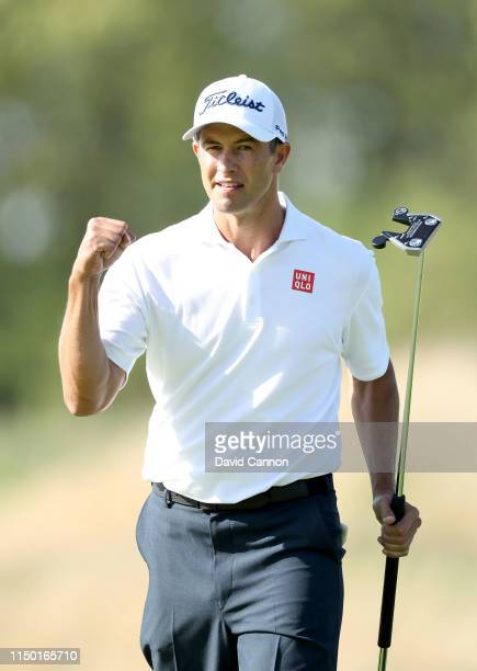 Adam Scott of Australia celebrates after making a birdie putt on the 11th hole during the third round of the 2019 PGA Championship on the Black...