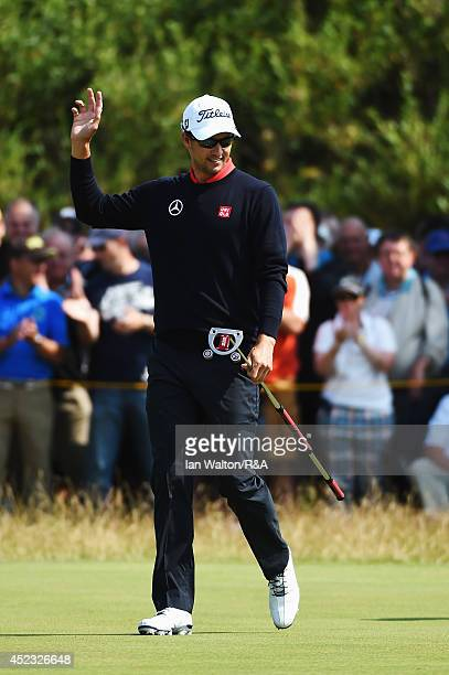 Adam Scott of Australia celebrates on the seventh green during the second round of The 143rd Open Championship at Royal Liverpool on July 18 2014 in...