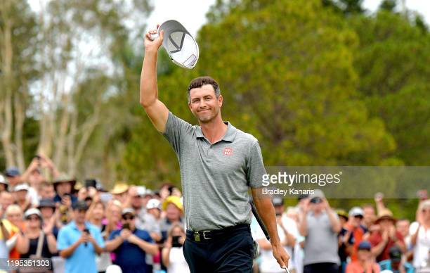 Adam Scott of Australia celebrates victory during day four of the PGA Championships at RACV Royal Pines on December 22 2019 in Gold Coast Australia