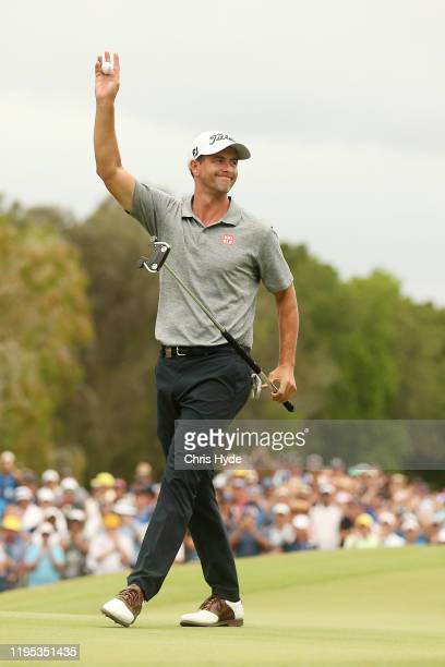 Adam Scott of Australia celebrates winning the PGA Championships at RACV Royal Pines on December 22 2019 in Gold Coast Australia
