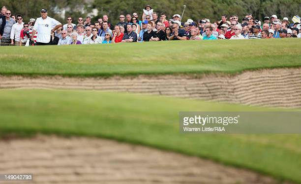 Adam Scott of Australia chips to the fifth green during the final round of the 141st Open Championship at Royal Lytham & St. Annes Golf Club on July...