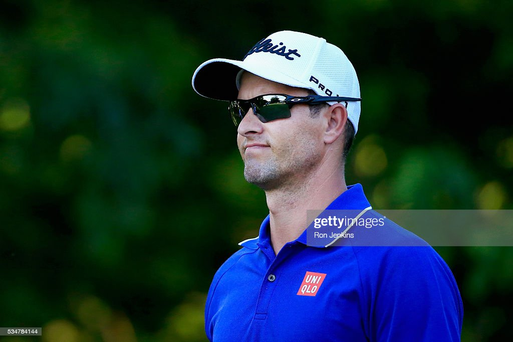 Adam Scott of Australia follows his shot from the eighth tee during the Second Round of the DEAN & DELUCA Invitational at Colonial Country Club on May 27, 2016 in Fort Worth, Texas.