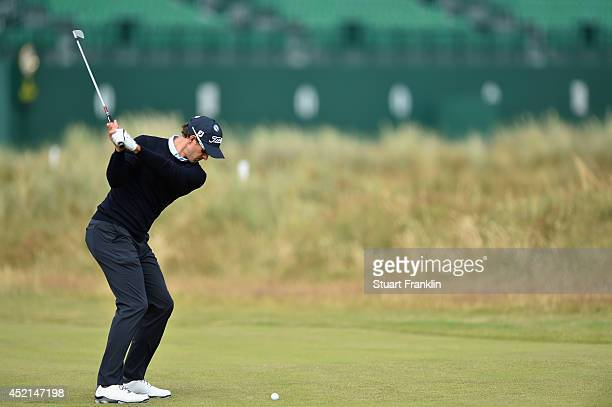 Adam Scott of Australia hits a shot during a practice round prior to the start of the 143rd Open Championship at Royal Liverpool on July 14 2014 in...