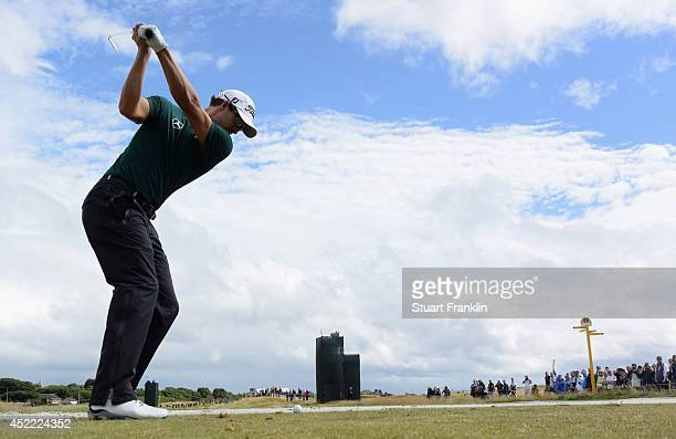Adam Scott of Australia hits a shot during a practice round prior to the start of The 143rd Open Championship at Royal Liverpool on July 16 2014 in...