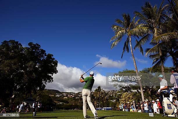 Adam Scott of Australia hits a shot on the 14th tee during the second round of the Sony Open in Hawaii at Waialae Country Club on January 10 2014 in...