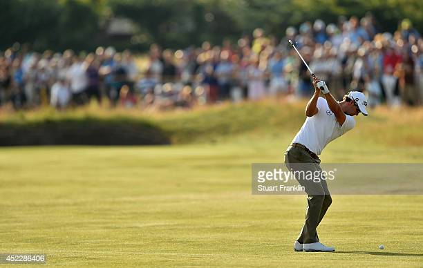 Adam Scott of Australia hits a shot on the 17th hole during the first round of The 143rd Open Championship at Royal Liverpool on July 17 2014 in...