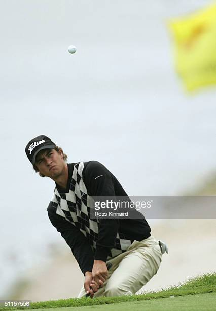 Adam Scott of Australia hits a shot on the 8th green during the practice round of the U.S. PGA Championship at the Whistling Straits Golf Course...