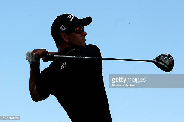 Adam Scott of Australia hits a tee shot during day one of the 2015 Australian Masters at Huntingdale Golf Course on November 19, 2015 in Melbourne,...