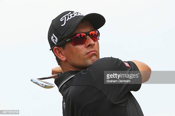 Adam Scott of Australia hits a tee shot during day one of the 2015 Australian Masters at Huntingdale Golf Course on November 19 2015 in Melbourne...
