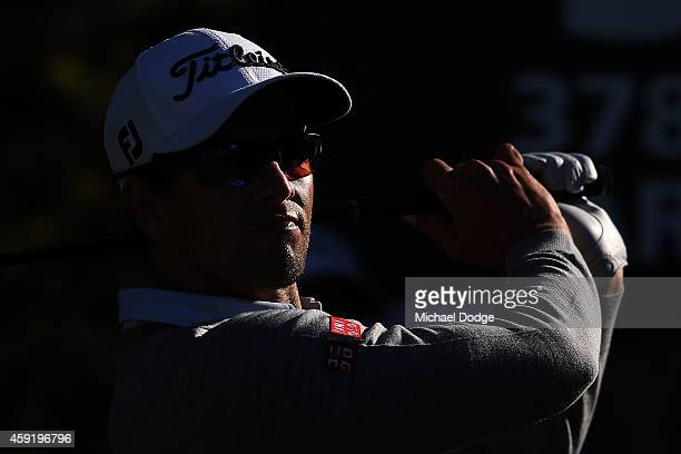 Adam Scott of Australia hits a tee shot during the ProAm ahead of the 2014 Australian Masters at The Metropolitan Golf Course on November 19 2014 in...