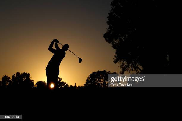 Adam Scott of Australia hits a tee shot on the 2nd hole during the third round of the Genesis Open at Riviera Country Club on February 16, 2019 in...