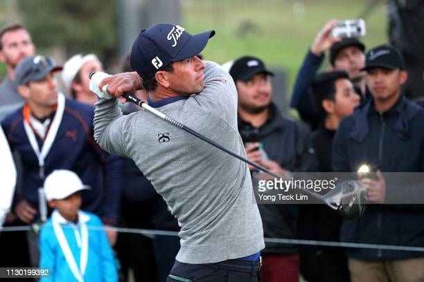 Adam Scott of Australia hits a tee shot on the 3rd hole during the third round of the Genesis Open at Riviera Country Club on February 16 2019 in...