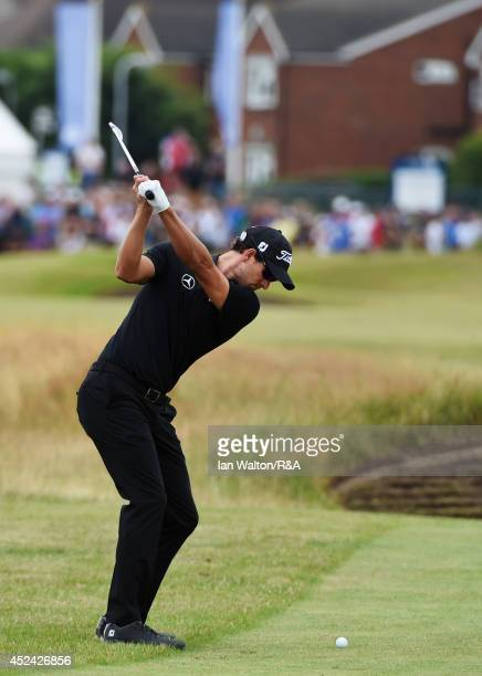 Adam Scott of Australia hits an approach shot during the final round of The 143rd Open Championship at Royal Liverpool on July 20 2014 in Hoylake...