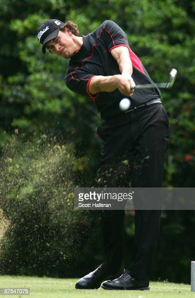 Adam Scott of Australia hits his tee shot on the 14th hole during the third round of the Wachovia Championship at Quail Hollow Club May 6 2006 in...